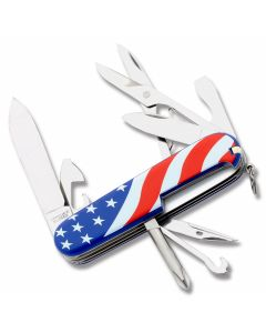 "Victorinox Swiss Army Super Tinker 3.625"" with American Flag Composition Handle and Stainless Steel Blades and Tools Model 56342"