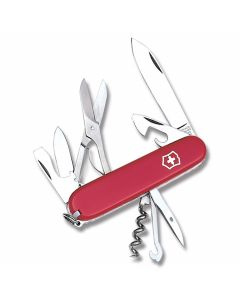 "Victorinox Swiss Army Climber 3.625"" with Red Composition Handle and Stainless Steel Blades and Tools Model 56381"