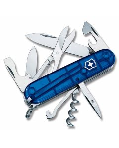 "Victorinox Swiss Army Climber 3.625"" with Translucent Sapphire Composition Handle and Stainless Steel Blades and Tools Model 56386"