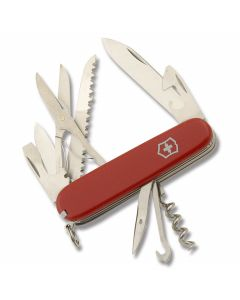 "Victorinox Swiss Army Huntsman 3.625"" with Red Composition Handle and Stainless Steel Blades and Tools with Black Leather Sheath Model 56820"