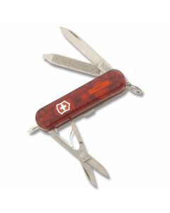 "Victorinox Signature Lite 2.313"" with Translucent Ruby Composition Handle and Stainless Steel Blade and Tools Model 57187"