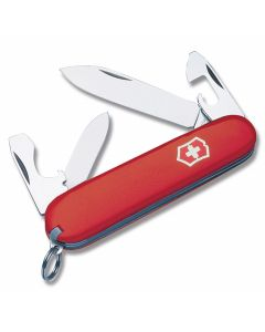 "Victorinox Recruit Clampack 3.313"" with Red Composition Handle and Stainless Steel Blades and Tools Model 57241"