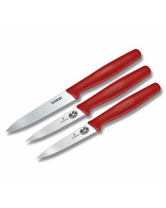 Victorinox Three Piece Utility Set with Red Synthetic Handles and Stainless Steel Blades Model 57607