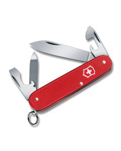 "Victorinox 2018 Limited Edition Cadet 3.25"" with Berry Red Alox Handles and Stainless Steel Plain Edge Blades Model 0.2601.L18"