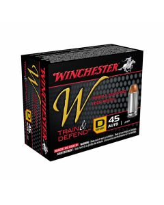 Winchester W Defend Reduced Recoil 45 ACP 230 Grain Jacketed Hollow Point 20 Rounds