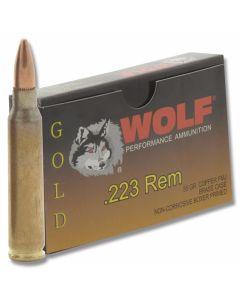 Wolf Gold 223 Remington 55 Grain Premium Grade Full Metal Jacket 20 Rounds.