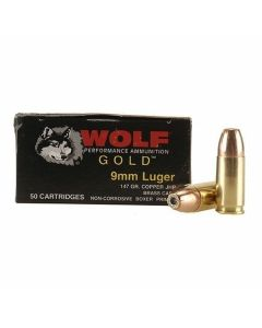 Wolf Gold 9mm Luger 147 Grain Jacketed Hollow Point 50 Rounds