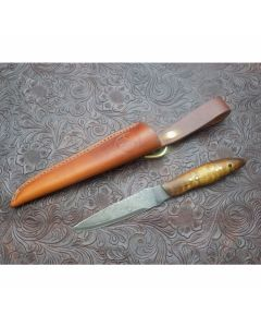 Woody handmade egret knife 3.063 inch blade with curly maple handles 1095 carbon steel plain edge