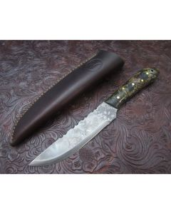 Woody handmade English Trade knife 4.125 inch blade with Rag Micarta handles 1095 carbon steel plain edge