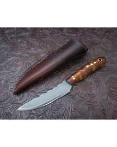 Woody handmade Legacy EDC knife 2.75 inch blade with curly maple handles 440C Stainless steel plain edge