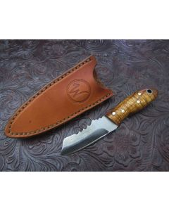 Woody handmade Snub nose one of a kind knife 2 inch blade with curly maple handles Damascus steel plain edge