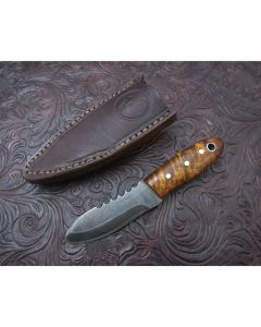 Woody handmade P Cola patch knife 2 inch blade with curly maple handles Damascus steel plain edge