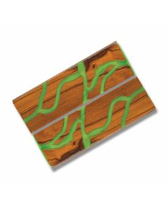 Desert Ironwood Handle Slabs with Green Acrylic Accent