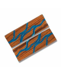 Desert Ironwood Handle Slabs with Blue Acrylic Accent