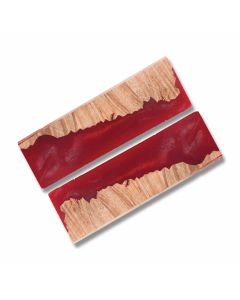 Desert Ironwood Handle Slabs with Red Acrylic Accent