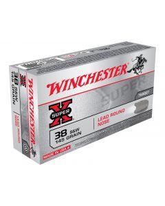 Winchester Super-X 38 S&W 145 Grain Lead Round Nose 50 Rounds