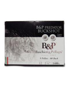 "Baschieri & Pellagri Predator Buckshot 12 Gauge 2-3/4"" 00 Buckshot 9 Pellets 10 Rounds"