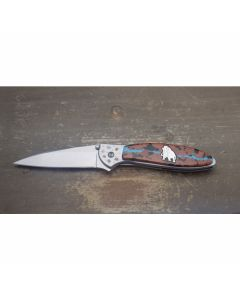 "Kershaw Leek Brian Yellowhorse Custom Mammoth with Stainless Steel and Kingman Turquoise Overlay Handle with Satin Finish 14C28N Sandvik Steel 3"" Modified Drop Point Plain Edge Blade"