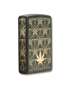 Zippo Green Matte Cannabis Lighter Model 29589