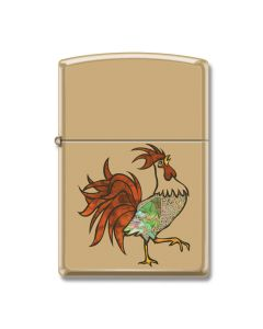 Zippo High Polish Brass Rooster Lighter Model 254B-065775
