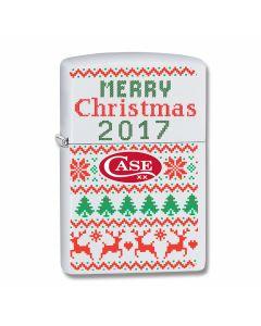 Zippo Case 2017 Christmas Ugly Sweater White Matte Lighter