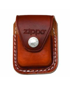 Zippo Logo Brown Leather Lighter Pouch with Clip