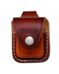 "Zippo Logo Brown Leather Lighter Pouch with 2"" Loop"