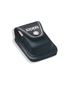Zippo Logo Black Leather Lighter Pouch with Loop Model LPLBK