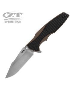 "Zero Tolerance 0393 Sprint Run with G10 Overlayed Bronze Anodized Titanium Handle and 3.5"" Stonewashed S35VN Steel Blade Model 0393BRZ"