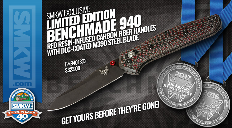SMKW Exclusive Benchmade Osborne Design 940 with Red Resin Infused Carbon Fiber Handles