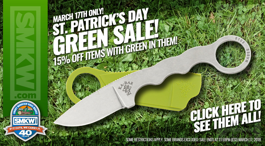 St. Patrick's Day Green Sale - 15% Off Select Green Items! Web only. Offer Valid Only On Items In St. Patrick's Day Category. Offer Ends 11:59 pm EST 3/17/18.