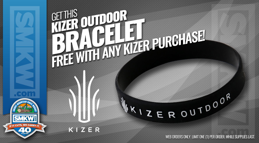 Kizer Outdoor Bracelet Free with Any Kizer Purchase! Limit 1 Per Order. While Supplies Last.