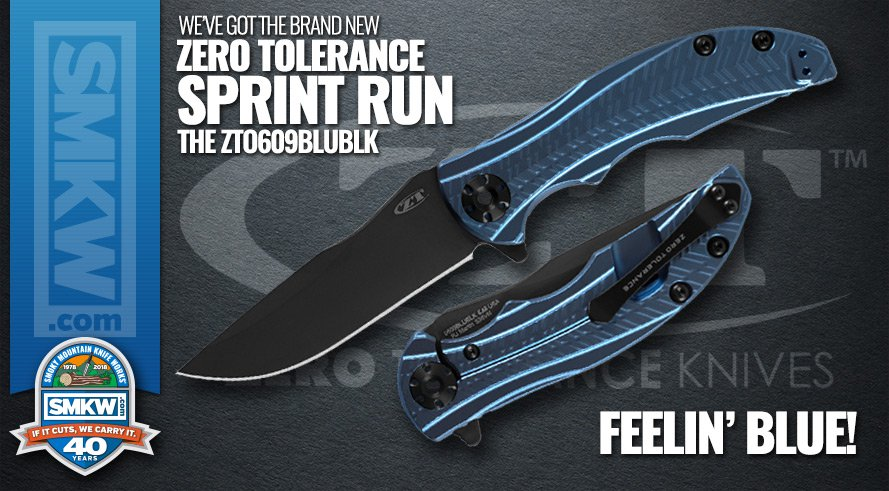 New! Zero Tolerance 0609 Sprint Run with Blue Anodized Titanium Handle