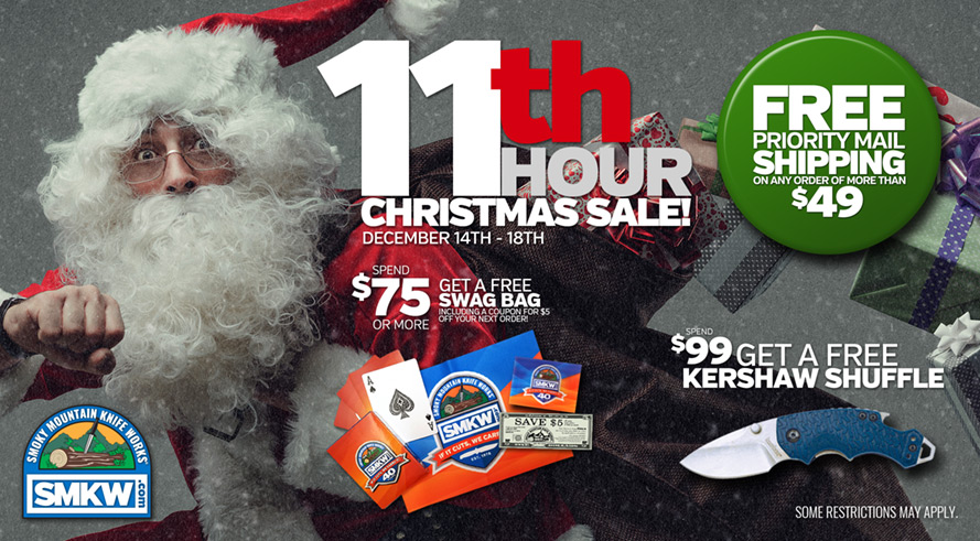 11th Hour Christmas Sale! Orders of $49 or more receive Free Shipping. Orders of $75 or more receive a free SMKW Swag Bag (PDBAG) and free shipping. Orders of $99 or more receive a free Kershaw Shuffle(PDKS8700NBSW) Web-only! Not Valid in Retail Showroom. Not Valid with Any Other Offers or Promotions. Shipping excludes Ammo, and Flammables. Bulk rates may apply to oversized orders. Shipping offer excludes orders shipping to AK, HI, and US territories. Limit 1 of free item per order. While supplies last. Offer ends 12/18/18 at 11:59 pm EST.