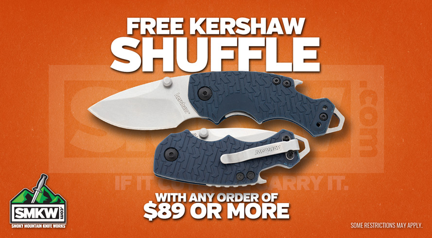 Free Kershaw Shuffle (PDKS8700NBSW) with purchase of $89 or more! Web only. Limit 1 per order. While supplies last. Offer ends 4/22/19 at 8 am EST.