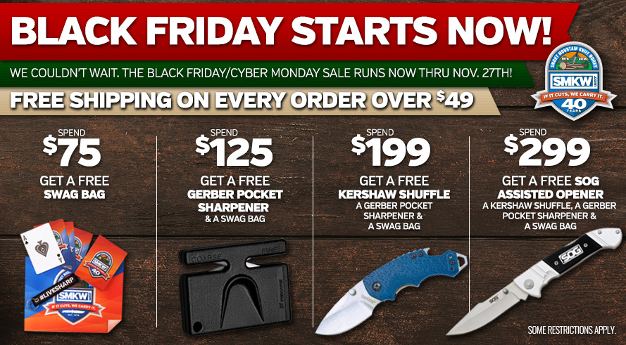 BFCM SALE - Black Friday Cyber Monday Sale! Orders of $49 or receive Free Shipping. Orders of $75 or more receive a free SMKW Swag Bag (PDSWAG) and free shipping. Orders of $125 or more receive a free PDG4307, a free SMKW Swag Bag, and Free Shipping. Orders of $199 or more receive a free PDKS8700NBSW, a free PDG4307, a free SMKW Swag Bag, and Free Shipping. Orders of $299 or more receive a free PDSOGFF3002, a free PDKS8700NBSW, a free PDG4307, a free SMKW Swag Bag, and Free Shipping. Web-only! Not Valid in Retail Showroom. Not Valid with Any Other Offers or Promotions. Excludes Ammo, and Flammables. Bulk rates may apply to oversized orders. Excludes orders shipping to AK, HI, and US territories. Limit 1 of each free item per order. While supplies last. Offer ends 11/27/18 at 11:59 pm EST.