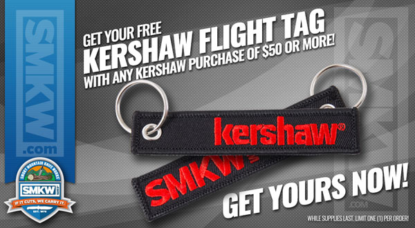 Free Kershaw Flight Tag with any Kershaw Purchase Over $50! While supplies last. Limit 1 per order.