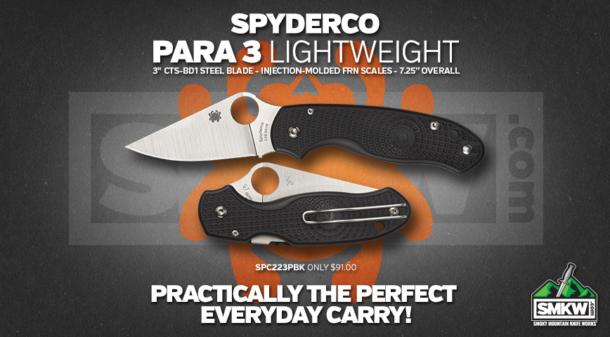 Get your Spyderco Para 3 Lightweight Today!