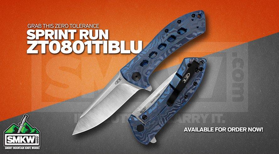 New Zero Tolerance Sprint Run - Blue Titanium 0801 with M390 Steel!