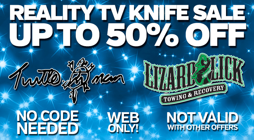 Reality TV Sale - Up to 50% Off Turtleman and Lizard Lick Products! Web Only. Prices as Marked. Not Valid With Other Offers.
