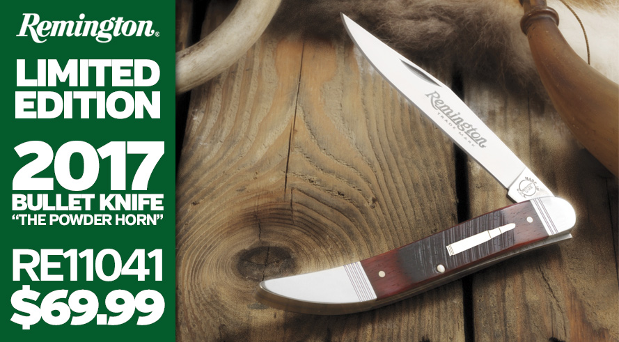 "Remington 2017 Bullet Knife ""The Powder Horn"" Available for Pre-order - RE11041 $69.99"