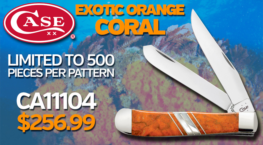 New! Case Exotic Orange Coral Pocketknives - CA11104 $256.99