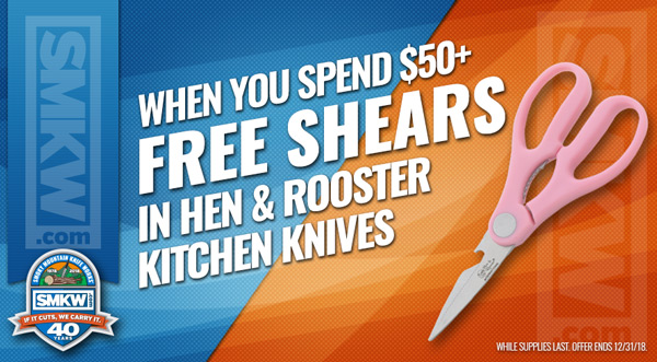 Free Pink Kitchen Shears (PDHRI040) with $50 Hen & Rooster Purchase! Limit 1 Per Order. While Supplies Last. Offer ends 12/31/18.