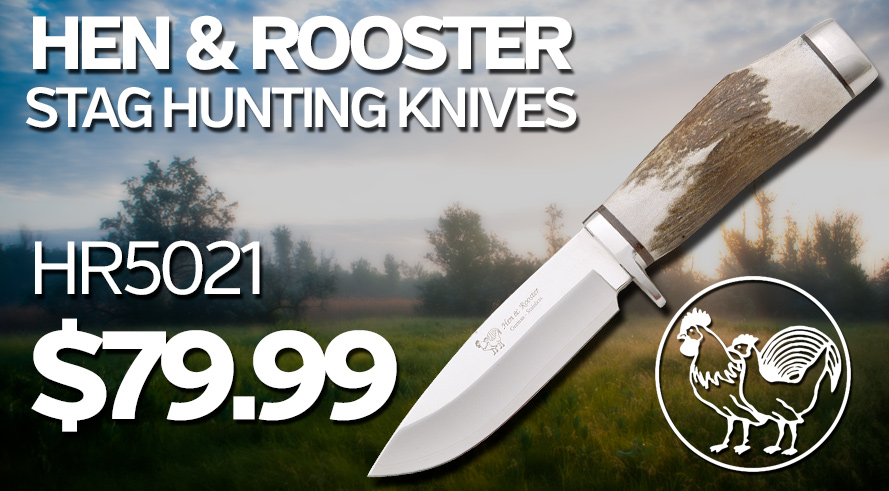 Hen and Rooster Stag Hunting Knives - HR5021 $79.99